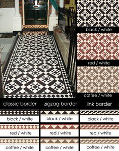 Suppliers of Euthentic Victorian Geometric Encaustic Tiles I love the star pattern in black and white. Victorian Front Garden, Victorian Hallway, Victorian Front Doors, Victorian Terrace, Victorian Fireplace Tiles, Hall Tiles, Tiled Hallway, Hallway Flooring, Flooring Tiles
