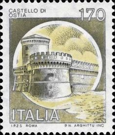 Briefmarke: Castles- Ostia (Italien) (Burgen) Mi:IT 1514 Interesting Buildings, Postage Stamps, Poster, Italy, Hobby, Collections, Palaces, Monuments, Stamping