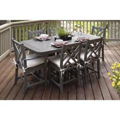 Polywood Chippendale Slate Grey 7 Piece Plastic Outdoor Patio