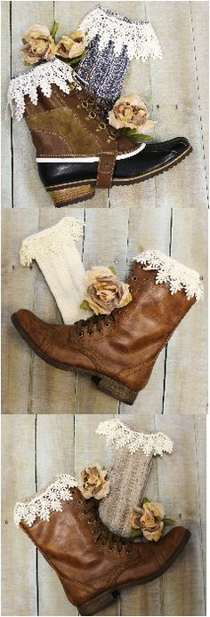 """Fall in love with these long lace Made in USA socks for your combat and weather boots. Denim tweed lace boot socks. A little sock """"love"""" for your short boots! The lace socks are 11"""" tall from heel to"""
