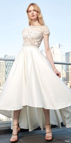 persy spring 2017 cap sleeves bateau tea length wedding dress (persy high low gown) mv lace bodice