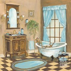 Bain de Cru I Print by Gregory Gorham at eu.art.com Bathroom Prints, Bathroom Art, Cozy Bathroom, Decoupage, Bath Pictures, Paper Doll House, Sleeping Beauty Castle, Storybook Cottage, Good Old Times