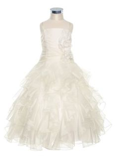 Exquisite Ivory Organza Ruffles Overlay Girl Dress (Sizes 2-20 in 8 Colors) - Flower Girl Dresses - GIRLS