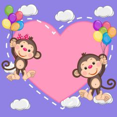 Valentine card with Lovers Monkeys flying on balloons Cartoon Monkey, Cute Cartoon, Monkey Drawing, Photo Frame Design, Class Decoration, Jungle Animals, Birthday Images, Love Cards, Cute Love