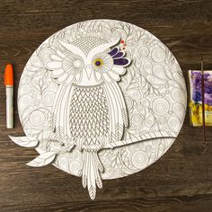 """- Product: ColorMe Decal, children and adult coloring activity - Design: swirly owl and moon mandala - Sizes: 8""""w x 8""""h; 15""""w x 15""""h; 24""""w x 24""""h; 36""""w x 36""""h - Intricacy level: high - Gift idea: perf"""