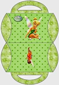 Tinkerbell: Cajas Almohada para Imprimir Gratis. Tinkerbell Gifts, Tinkerbell And Friends, Peter Pan And Tinkerbell, Cadeau Disney, Arts And Crafts Box, Paper Box Template, Box Templates, Oh My Fiesta, Printable Box