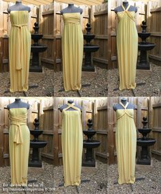 19 DIY Fashion Projects, Golden goddess gown - a side tie infinity dress that is smokin' hot -- Combine this inspiration with Threadbanger's (YouTube) $10 Wedding Dress tutorial and you've got some awesome in the works!