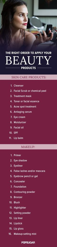 Stop putting your makeup on in the wrong order! This handy guide shows you the right order to apply your makeup and skin care products so they work better and last longer.