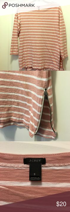 J Crew Side Zip Striped Top Dusty rose colored striped top with side zippers. Three quarter length sleeves. J. Crew Tops