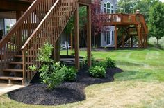 Deck landscaping...I like this idea for under a deck so you don't have to worry about mowing lawn under the deck