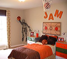 basketball rooms | Entering Your Son Hobby to His Bedroom with Basketball Themed Bedroom ...