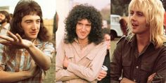 Tiny photo but a great one of Queen's John Deacon, Brian May and Roger Taylor.