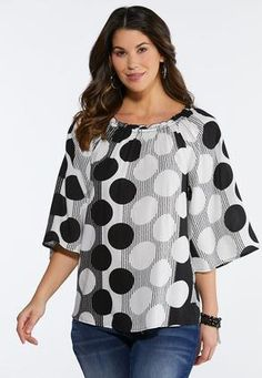 f46bf94e22d Plus Size Convertible Polka Dot Poet Top Shirts   Amp   Blouses Cato  Fashions