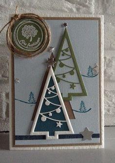 "Impression Obsession Cristmas Tree Cutout Die - Houten stempel ""kleine kerstboom"" en "" Fijne Feestdagen "" v Crafts & Things"