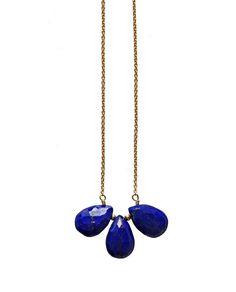 Collier goutte bleu trio lapis-lazuli par keijewelry sur Etsy