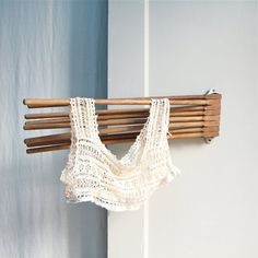 Vintage Wooden Swing Arm Drying Rack, Wall Hung