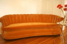 Vintage Velvet sofa...absolutely in love with this!  Great color, simplicity and clean lines.  Perfect!