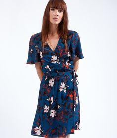 Robe portefeuille imprimée fleurs tropicales - HANOI - BLEU VERT - Etam