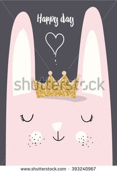 cute vector rabbit with crown glitter illustration  - stock vector