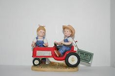 Homco Home Interiors Denim Days First Tractor 1985 Figurine 1525 Red Tractor | eBay