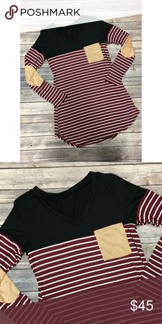 Burgundy Striped Top Top part is black. So cute! Has elbow patches and front breast pocket. True to size. No trades. No lowball offers. Tops