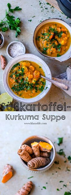 This sweet potato turmeric soup warms from the inside. And also ideal as a meal prep. Bon Appetit, Yellow Sweet Potato, Turmeric Soup, Musaka, Potato Puree, Food Advertising, Hot Soup, Fresh Coriander, Stuffed Hot Peppers