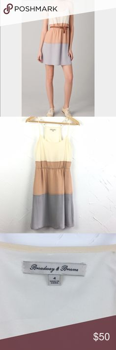 Madewell Broadway & Broome Colorband Silk Dress Darling Colorblock dress with delicate straps and pockets!! Cream, nude and gray. Great condition- only flaw is some slight discoloration under the strap adjusters. 100% silk. Ships same day from a smoke free home! No trades 🎀 Madewell Dresses