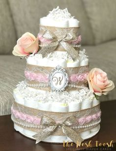Shabby Chic Pink Gold Floral Diaper Cake Baby Girl by ThePoshToosh