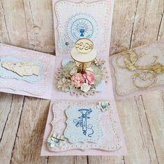 Exploding box for a girl, Pudełko z życzeniami na Pierwszą Komunię Świętą, scrapbooking, cardmaking, Pierwsza Komunia Święta