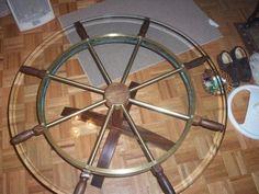Ships wheel coffee table Ship Wheel, Adjustable Table, Wooden Boats, Furniture Projects, Diy Art, Nautical, Sailboats, Room Ideas, Ships