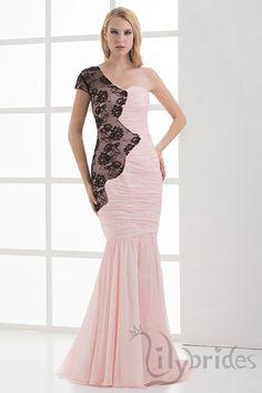 Trumpet/Mermaid One-shoulder Satin Chiffon Prom Dress
