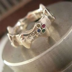 Nerdy Controller Wedding Bands- not as wedding bands for me, they just look so awesome!