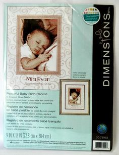 Dimensions Cross Stitch Kit Peaceful #Baby Personalized Birth Record 70-73992 New