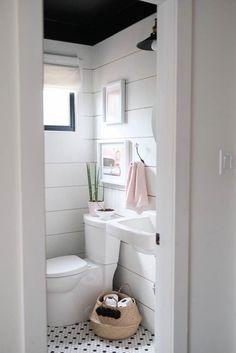 Shiplap powder room with black ceiling and wall-mounted sink. Diy Bathroom Decor, Bathroom Furniture, Bathroom Interior, Bathroom Ideas, Bathroom Cabinets, Bathroom Mirrors, Restroom Cabinets, Bathroom Designs, Budget Bathroom