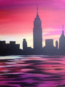 Learn to Paint NYC sunset tonight at Paint Nite! Our artists know exactly how to teach painters of a&; Learn to Paint NYC sunset tonight at Paint Nite! Our artists know exactly how to teach painters of a&; Building Painting, Cool Paintings, Sunset Paintings, City Art, Pictures To Paint, Art Plastique, Art Techniques, Painting & Drawing, Water Drawing