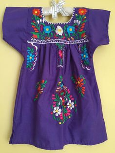 Mexican tunic embroidered flowers baby girls dress mexican party wedding theme frida kahlo day of the dead cinco de mayo fiesta purple mex by Miamorcitocorazon on Etsy