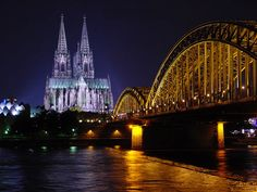 Cologne-Köln - Dom (Cathedral) in background & the Hohenzollern Bridge by night The Places Youll Go, Places To See, Places Ive Been, Small World, Museum Ludwig, Cologne Germany, Famous Castles, Germany Travel, Dom