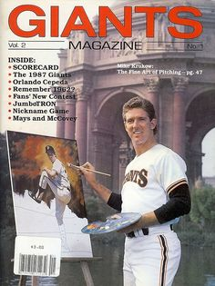GIANTS Magazine cover (No. 1, Vol 2) from the 1987 season features pitcher MIKE KRUKOW, who was a 20-game winner in 1986.  (And just to make Kruk feel a little older, it should be noted that 1987 was the year Buster Posey was born!)