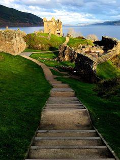 Urquhart Castle steps on Loch Ness