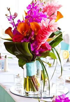 2- Raspberry and Tangerine (Color combo)  High Style Tropical Arrangement. Elizabeth Wray Design.