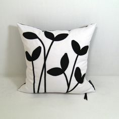Black and White Pillow Decorative Cushion Silk by Mazizmuse pinned with #Bazaart - www.bazaart.me
