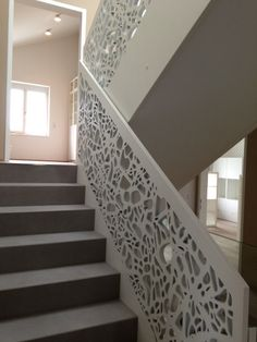 BRUAG PERFORATION - Designer Wood panels from Bruag ✓ all information ✓ high-resolution images ✓ CADs ✓ catalogues ✓ contact information ✓. Railing Design, Facade Design, Staircase Design, Exterior Design, House Design, Staircase Railings, Stairways, Balustrade Balcon, Stair Elevator