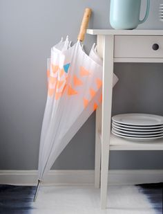 And another DIY Umbrella Makeover - Neon Geometric Print