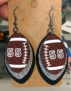 Customizable Made To Order Custom Color Faux Leather Football Number Earrings Personalized Sports Fan Diy Leather Earrings, Leather Jewelry, Earrings Handmade, How To Make Earrings, Cute Earrings, Football Jewelry, Football Moms, Football Parties, Alabama Football