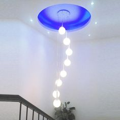 Woodland Drive Collection Modern Glass Ball Staircase Hanging Pendant Light