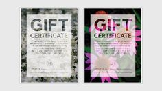 Firefly Design + Communication gift certificate design.  #certificate #layout #translucent #collage #flowers