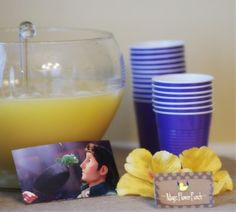 """For drinks make a classic wedding golden punch to resemble the magic flower potion they give the queen in the beginning of the movie. Then pick up a few golden flowers from the Dollar Store to place in front of the punch and label it """"Magic Flower Punch. Birthday Party Punches, Rapunzel Birthday Party, Disney Princess Party, 4th Birthday Parties, Girl Birthday, Birthday Ideas, Birthday Celebrations, Tangled Wedding, Tangled Party"""