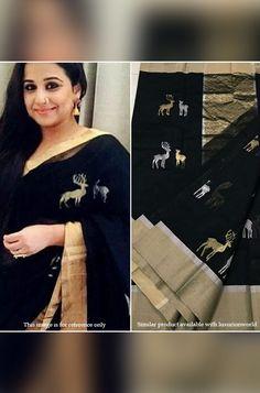 4c584182d04028 Buy Black Handloom Chanderi Silk Saree