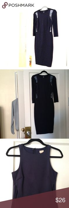 Modern navy dress with cutouts. Sleek navy dress with cutouts design at the waist and zippers in the back. Worn once - absolutely no signs of wear. Can be bundled with matching sequined top from Joe Fresh. (If worn together, matching sequins design appears on shoulders and waist) Let me know if you're interested in both the dress and the shirt and I'll make you a good deal. H&M Dresses Midi