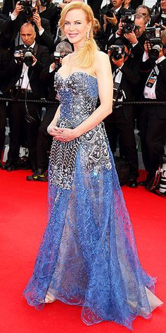 On the Red Carpet at Cannes | NICOLE KIDMAN | She plays Grace of Monaco, but we're getting more of a fashion-forward fairy godmother vibe from the actress's intricate blue Armani Privé design, embellished with beads and further blinged-out for the movie's premiere with Harry Winston diamonds.